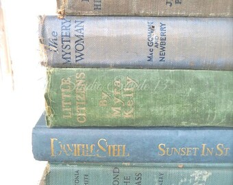 """Book Wall Art, Book Photography, Shabby Vintage Book Print, Antique Old Book Photo, Rustic Decor, Cottage Library Office Art- """"Stacked Gems"""""""