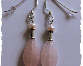 Rose Quartz, Freshwater Pearls and Sterling Silver Handcrafted Earrings -- Classically Pretty -- Genuine Stones