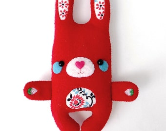 super cute handsewn red felt rabbit