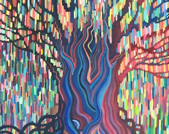 Print - Rainbow Rain - Weeping Willow Tree - High Quality Print on Archival Paper - abstract pixel painting