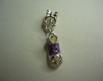 Purple and silver basketball charms bracelet charm