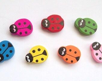 8 large beads - multicolored - ladybugs wood 20 x 10 mm