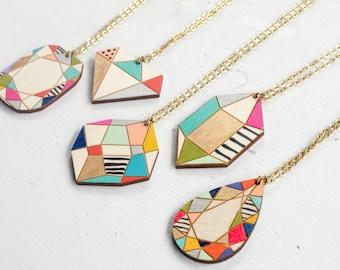 Handpainted Wooden Gem Pendants, gift for her, handpainted jewelry