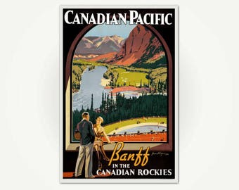 Vintage Travel Poster - Banff in the Canadian Rockies Vintage Travel Poster - Vintage Canadian Travel Poster