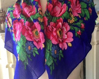 """Portuguese scarf , Violet,Pink,red, roses, rose scarf 19"""" x 19"""""""