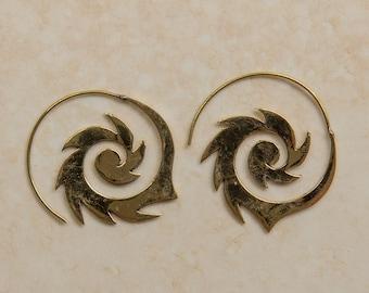 Flame spiral earrings