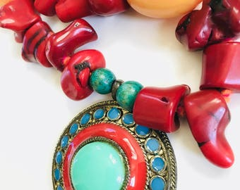 Red Coral Statement Necklace - with vintage brass pendant and chunky amber beads, Ethnic jewelry, Tribal statements