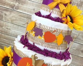 Fall Baby Shower Diaper Cake in Plum, Orange and Mustard Yellow, Pumpkin Baby Shower Centerpiece