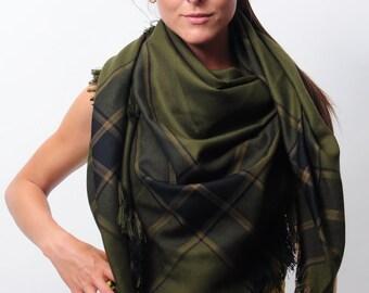 Olive Dark Khaki Oversized Shawl Blanket Scarf Wrap Fringed Zara Scarf Check Scarf Plaid Scarf Tartan Scarf Women Accessories Gift for Women