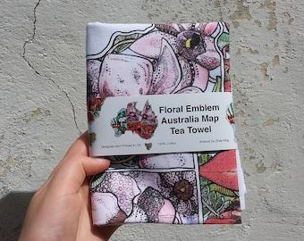 Australia Floral Emblem Map Tea towel, Australiana Mothers Day Gift, Australian, 100% Cotton, Kitchen Gift, Adelaide, Flora, Souvenir