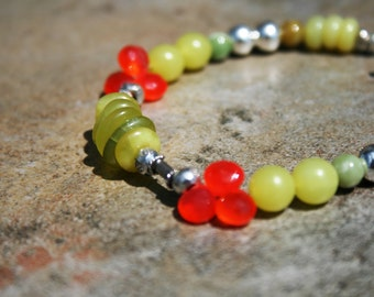 SURRY Chalcedony, Jade and Sterling Bracelet