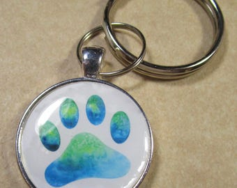 Paw Print Keychain, Paw Print Key Fob, Paw Print Key Ring, Paw Print Key Chain, Paw Print Gifts, Dog Mom Gifts, Pet Lover Gifts