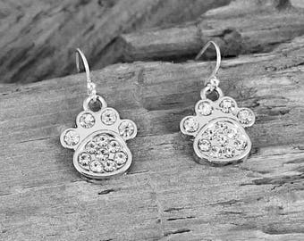 """PUPPY LOVE EARRINGS,  1"""" L Silver and Rhinestones, Fun Little Sparklers and Just Right for a Dog Lover or a Gift For a Puppy Lover. Unique."""