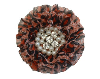 Red Black Cheetah Print Chiffon Flower with Rhinestone Pearl Centers.