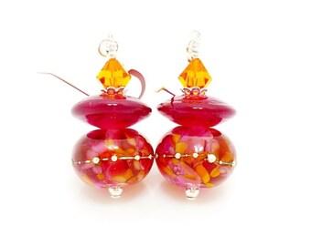 Pink Earrings, Colorful Earrings, Lampwork Earrings, Glass Earrings, Beadwork Earrings, Unique Earrings, Glass Bead Earrings, Bright Earring