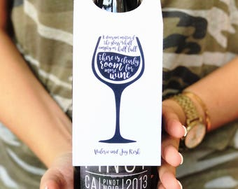 Personalized Set of 18 Wine Tags, The Glass is Half Full!