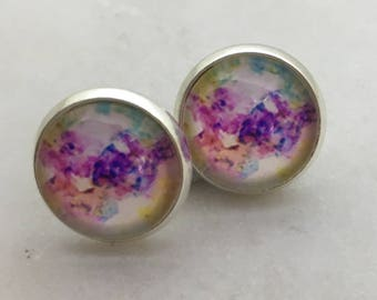 Watercolour glass dome stud earrings. 14mm with surgical steel and nickel free posts