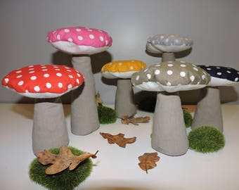 Decorative mushroom with colorful polka dots large model