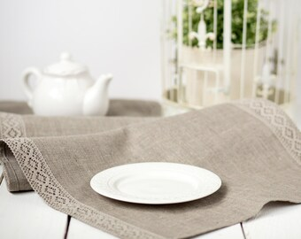 Linen table runner with lace -  grey linen runner - housewarming gift - rustic wedding runner -  linen table top
