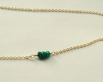 Emerald choker necklace, Gold emerald necklace, Gemstone necklace, Emerald birthstone necklace, May birthstone necklace