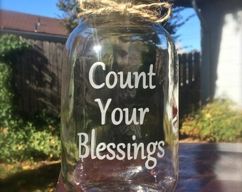 Mason Jar, Count Your Blessings, Quart Mason Jar