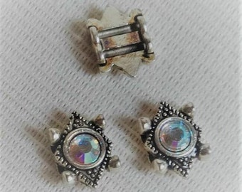 10 sliders N with two holes antiqued metal with swarovski crystal Clear AB Aurora Borealis