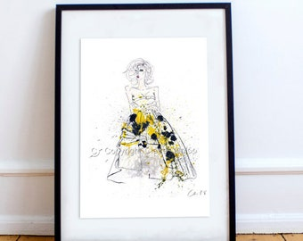 Fashion Illustration of McQueen No.13 - Print of Watercolour Wall Art by Claire Dunlop