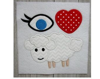 I Love You Embroidery Design, Machine Embroidery Design, Applique, I Love EWE, 3 Sizes