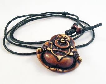 BZ00C - smiling happy Buddha pendant good bearing carved Yoga Zen Meditation Brown hand