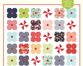 Wildflowers quilt pattern from Cotton Way - layer cake or charm pack friendly