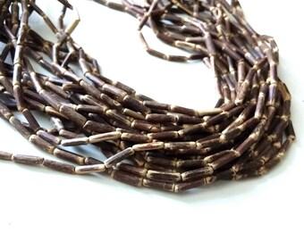 "Wood CocoNut Beads - Eco Friendly Tube Beads 12mm - 30"" strand"