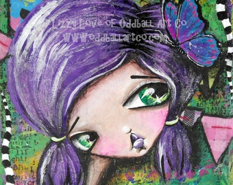Mixed Media Girl Big Eye Giclee Art Print Signed Reproduction Butterfly Circus by Lizzy Love [IMG#25]