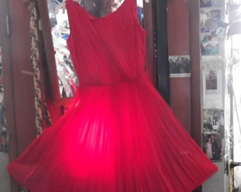 1950s Red Chiffon Dress w Shirt, sz S