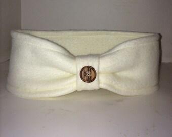 Cream colored, off white Fleece ear warmer with button embellishment, fleece winter headband with button
