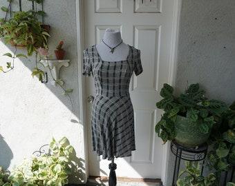 Vintage Grunge Skater Plaid Mini Dress