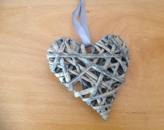Heart hanging basket with Grey Ribbon