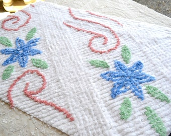 Vintage Chenille Fabric - Blue Flowers and Pink Scrolls on White - 45 x 22