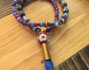 Blue/Red Double Wrap Mala Bracelet