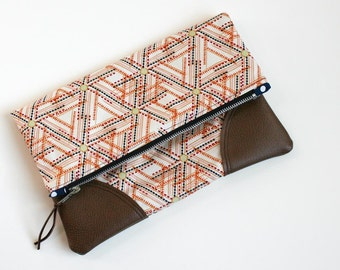 Fold Over Clutch - Fold Over Pouch - Leather Accent Bag - Zipper Bag - Ready to Ship