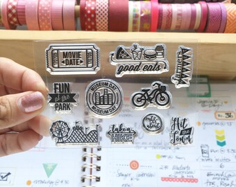 Out And About Photopolymer stamp set/Planner Accessories: Erin Condren, Filofax, planners