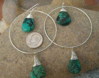 Large Hoop Earrings - Sterling Silver Turquoise Earrings - Turquoise Teardrops - December Birthstone