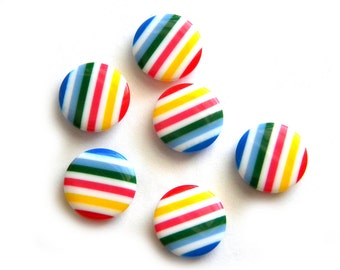 6 Rainbow Striped Buttons 18mm