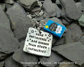 Hand Stamped 'Some Infinities' Aluminium Square Necklace, Book Charm,Book Quote, TFIOS, The Fault in our Stars, Stars,John Green, Jewellery.