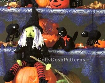 Instant Download PDF Knitting Pattern - Halloween Knits - Pumpkin-Witch-Cat-Spider