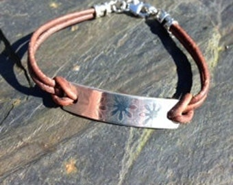 Sterling silver and leather flower bracelet