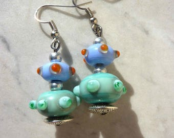 Pair of multicolor Double Pearl Earrings Murano glass Lampwork satellite green and blue soft ° ° with