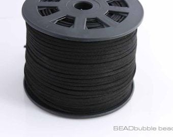 3mm Black Flat Faux Suede Microfiber Cord x 5 metres (approx 16ft)