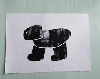 Dinodog linoprint