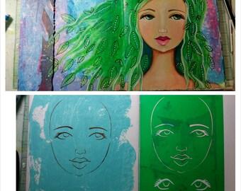 STENCIL Original face stencil Goddess Face - use in your mixed media work - reversible & reusable Art Stencil