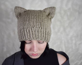 Knit cat ear beanie Knit cat beanie hat Cat beanie hat Cat ears hat Neko ears Knit cat hat Cat ear hat Knitted cat hat Hat with cat ears